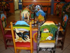 Colorful furnishings help make this a great place to eat!