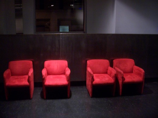 Four Red Chairs at the Museum of Moving Pictures in Montreal