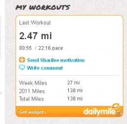 This is a screen shot from My Daily Mile,  a program I use to track my exercise minutes, and calories burned.