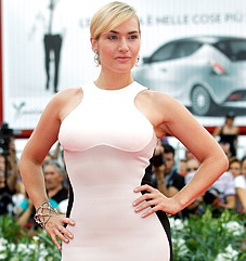 "Kate Winslet hits the red carpet for premiere of ""Mildred Pierce"" during 68th Venice Film Festival at Palazzo del Cinema wearing Stella McCartney Miracle Dress"