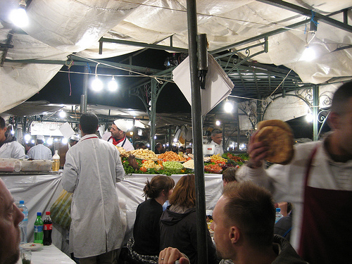 Dine in the centre of Djemaa el-Fna.