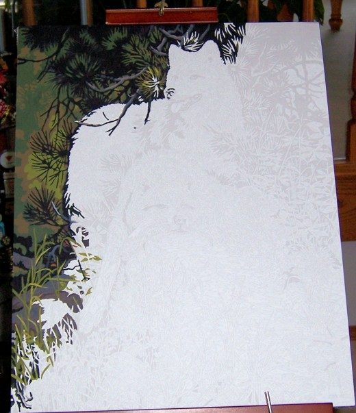 Progress on the Wolf Painting.