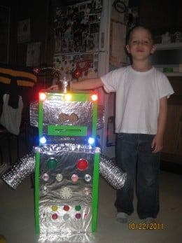 cameron with his robot costume