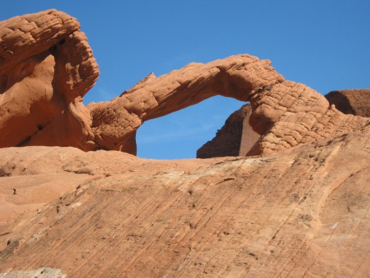 "The ""Arch Rock"" located in the Valley of Fire State Park."