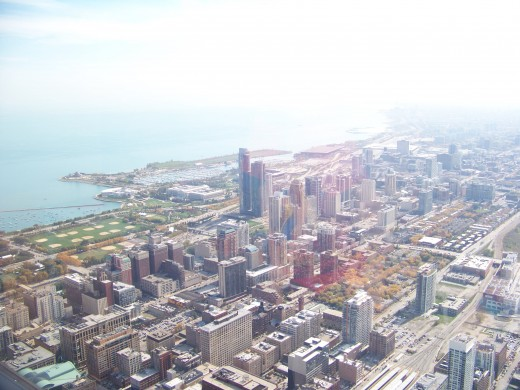 View of city and Lake Michigan