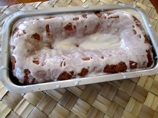 Banana Apple Fritter Bread with a liberal glaze of icing. Ready to eat!