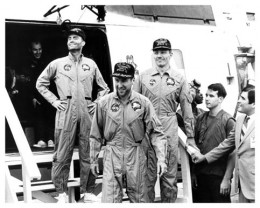 The crew of Apollo 13 following a successful re-entry and splashdown.