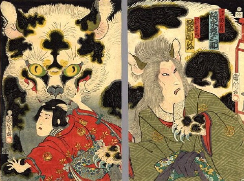 A print by Toyohara Kunichika (1835-1900) depicting Okabe the Cat Witch and a terrified young girl running from the spectre of a bake-neko.