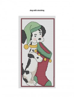 free Christmas Cross Stitch pattern Dog With Stocking