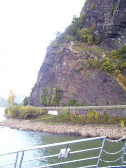 A view of the Base of Lorelei from the tour boat that floats the Rhine River.