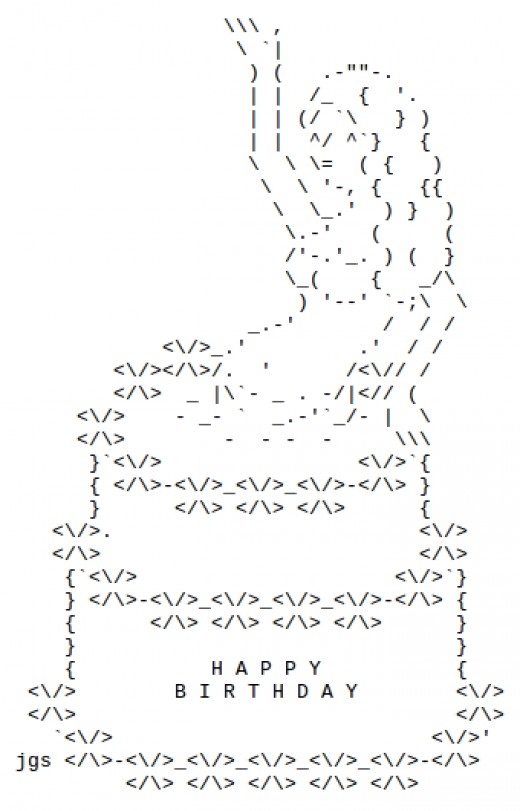 One Line Ascii Art Birthday : Happy birthday ascii text art