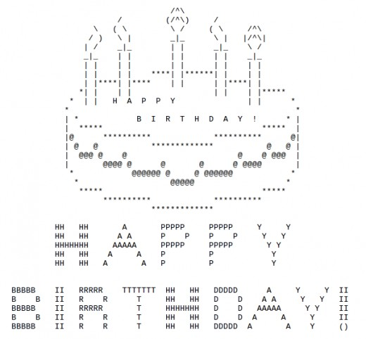 Birthday cake with keyboard symbols my blog for Ascii text decoration