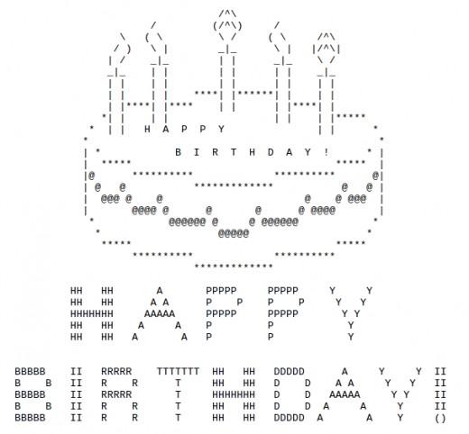 Birthday Cake Ascii Art Facebook : Happy Birthday ASCII Text Art