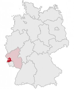 Map location of the Trier-Saarburg district, Rhineland-Palatinate, Germany