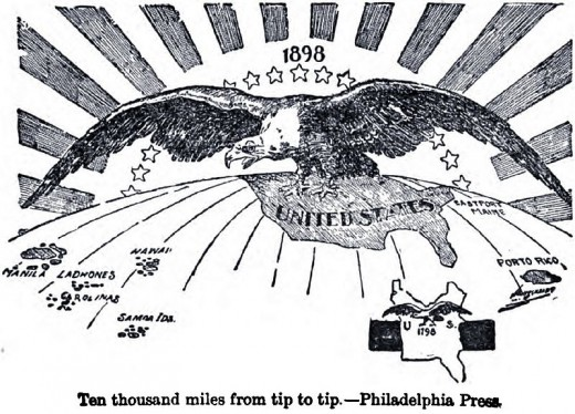 """Ten Thousand Miles From Tip to Tip"" meaning the extension of United States domination (symbolized by a bald eagle) from Puerto Rico to the Philippines. The cartoon contrasts this with a map of the smaller United States of 100 years earlier in 1798."