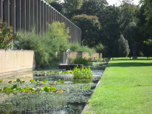 The water garden (or 'moat') at St Catherine's College, Oxford