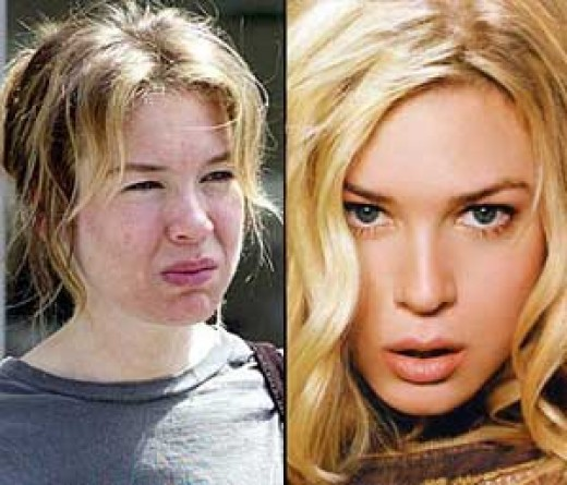 Renee Zellweger without her makeup looking a little pale