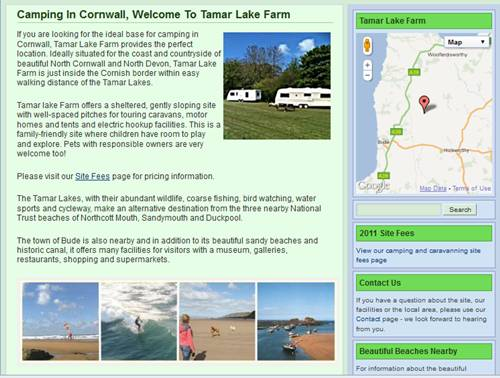 This is a screenshot of the little web site I am building for Tamar Lake Farm