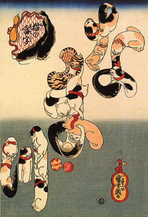 """Cats Forming the Characters for Catfish"" by Utagawa Kuniyoshi."
