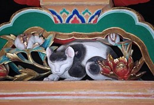 The famous Nemuri-neko (Sleeping Cat) carving at Tōshō-gū Shrine in Nikkō, Japan.