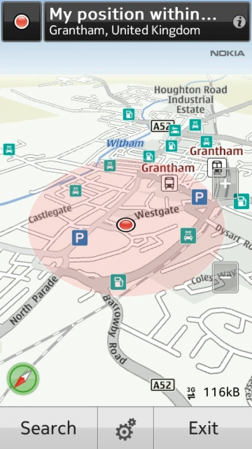 Screen shot from Nokia maps at the half way point, soon be there !!