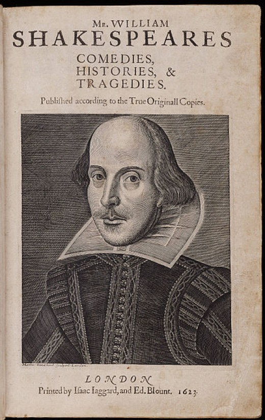 First Folio - the works of William Shakespeare published in 1623.
