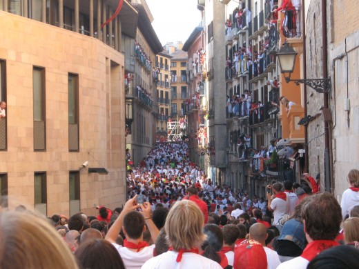 An elevated view of the crowded course of the encierro (running with the bulls).