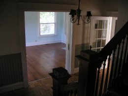 View from stairway into living room