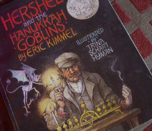 The detailed illustrations are scary but silly at the same time in Hershel and the Hanukkah Goblins.