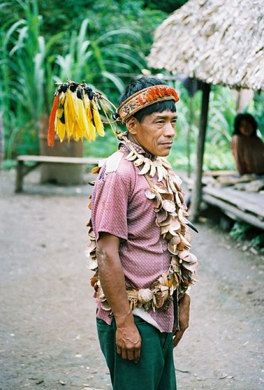 A shaman in the rainforest of Peru