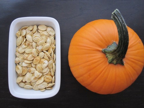 Why not go ahead and cook those pumpkin seeds which most people typically throw away each year.