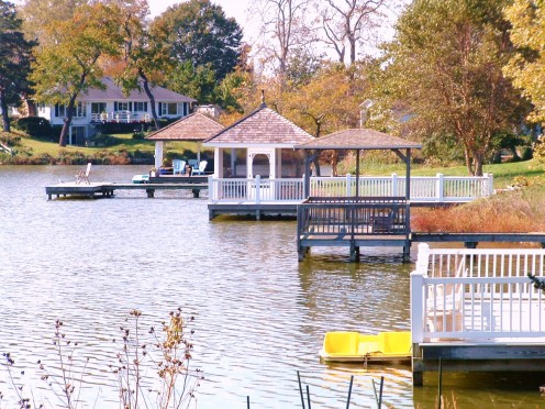 Walkers, runners and bikers are treated to beautiful views of gazebos along the shoreline.