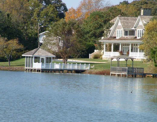 View of house with private gazebo as seen from the lake.