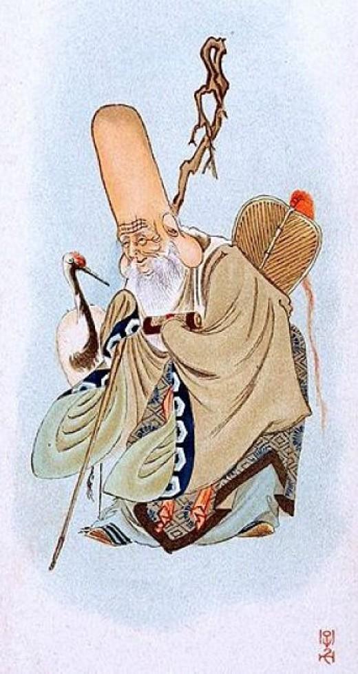 Fukurokuju with crane