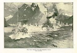 Painting of the fleet passing through the Magellan Straits at the southern tip of South America. by naval artist Henry Reuterdahl who traveled aboard the USS Culgoa