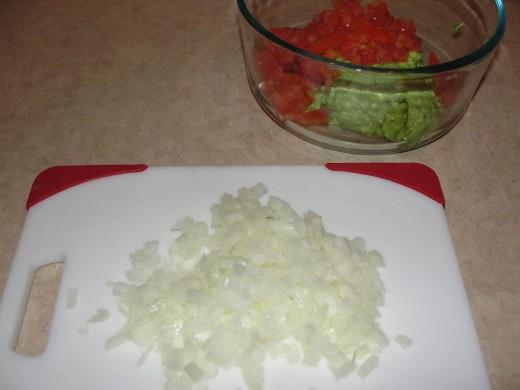 the diced onion