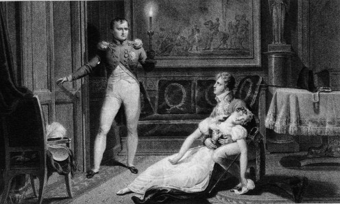 Divorce de Napoléon et Joséphine - Josephine fainting after being told by Napoleon he will decree a divorce - Source: Bosselman - Chasselat, Public Domain via Wikimedia Commons