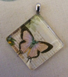 The front view of a square pendant