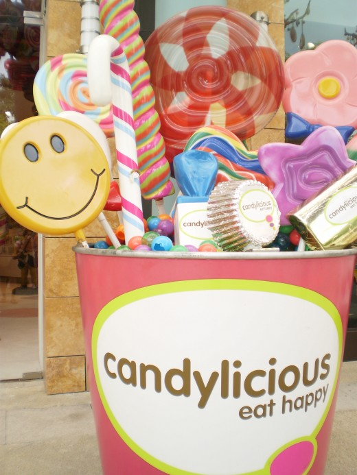 Outside the Candylicious shop.