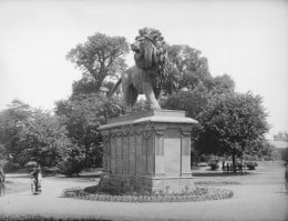 """The Maiwand Memorial (""""Forbury Lion"""") in Forbury Gardens, Reading, c. 1887"""