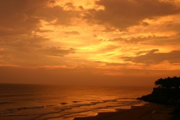 Dazzling sunset at Varkala, one of the many beaches of Kerala