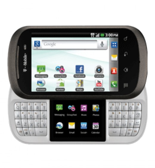 LG Doubleplay, a relative of LG Optimus, with a secondary screen between the two halves of the keyboard for task switching