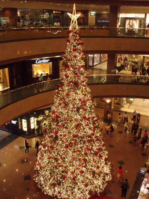 A Golden Christmas Tree in an American Mall