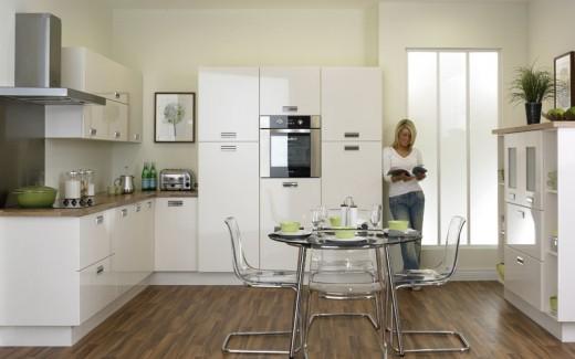 Beautiful kitchen with cheap gloss ivory kitchen doors