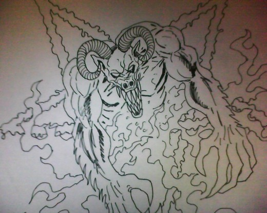 Demon ink pen drawing art Copyright Wayne Tully 2011.