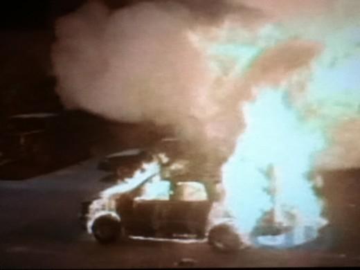 Vicki tries to burn Elena alive so that Klaus can no longer create hybrids.