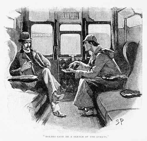 Sherlock Holmes and Dr Watson. Published in 'The Adventure of Silver Blaze', 1892