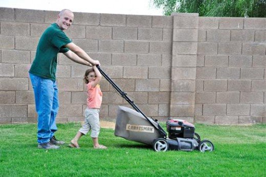Mowing the lawn. A life skill, indeed.