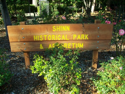 The entrance sign at Shinn Historical Park and Gardens in Fremont, California.