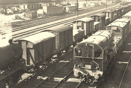 Hull Docks, steam and diesel shunting side by side on lines ballasted with ash